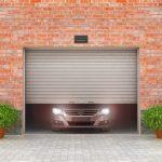 Garage concept. Garage doors are opened